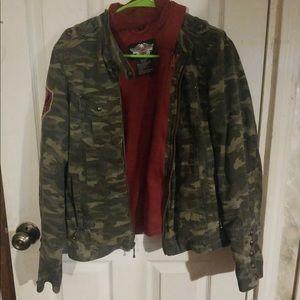 Harley Davidson Camo Jacket, Hoodie, and Vest,
